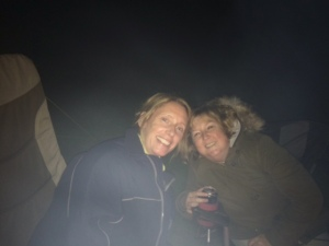 Andi and Ali getting cosy by the fire
