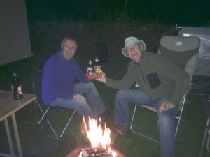 Paul and Martyn enjoying a beer by the fire