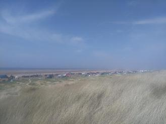 Cars parked along Ainsdale beach